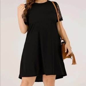 Black Lace Sleeves High Low Dress
